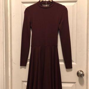 American Apparel Violette Skater Dress Burgundy